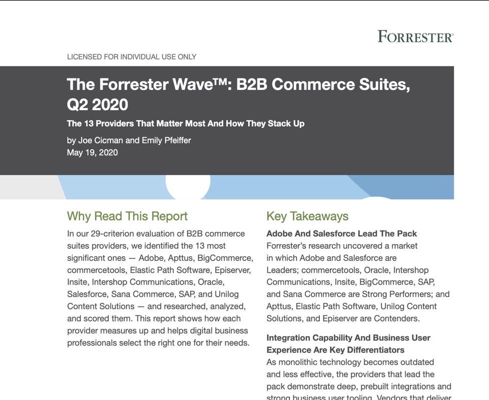Forrester Wave B2B ehandelslösningar 2020