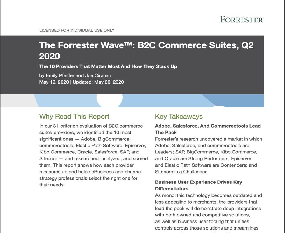 Forrester Wave ehandelslösningar B2C 2020