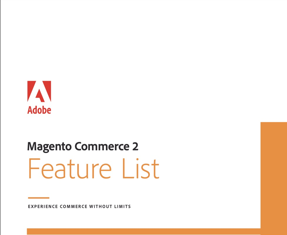 Magento 2 feature list